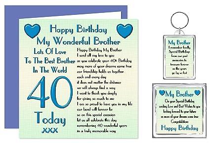 Hermano 40th feliz cumpleaños tarjeta llavero extraíble ...