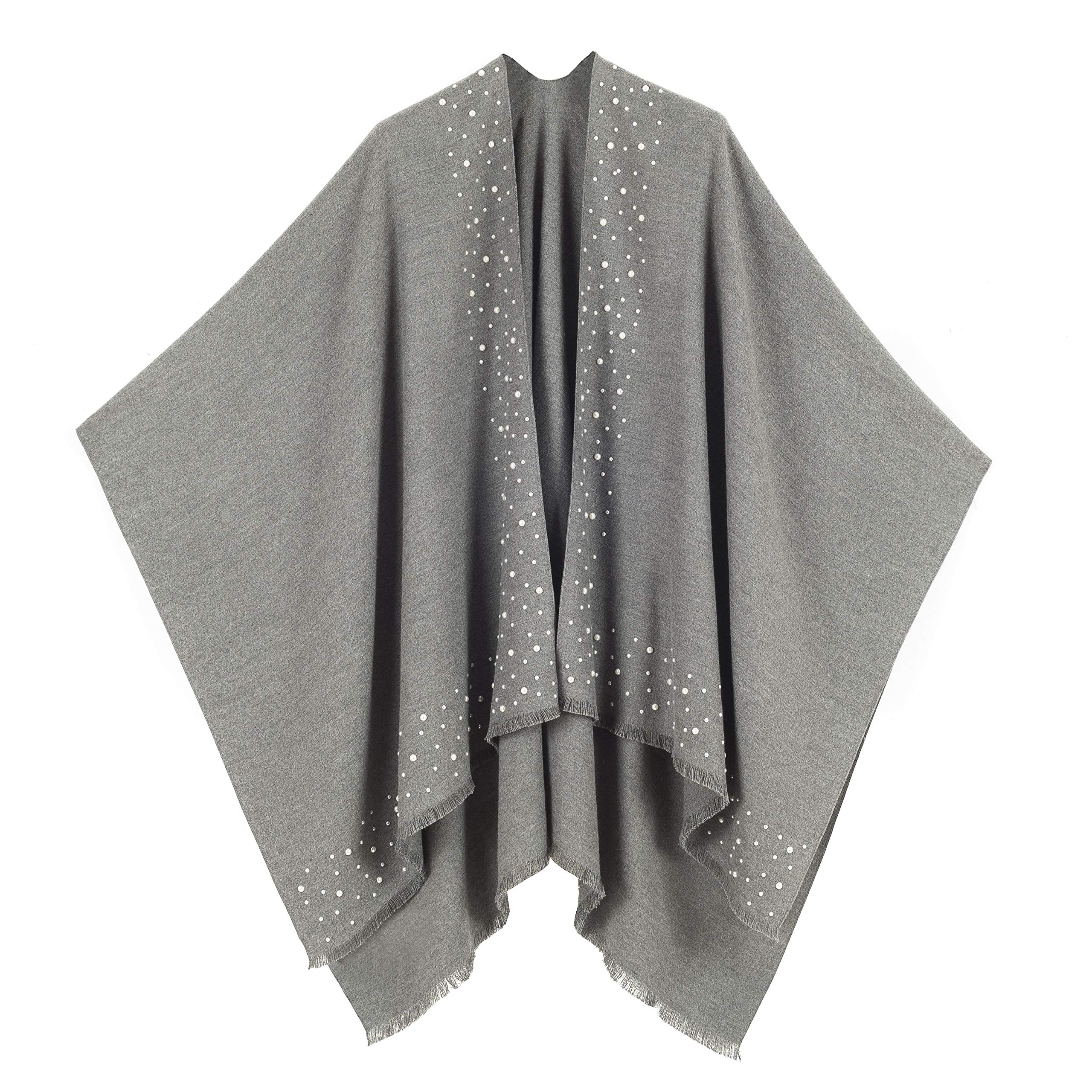 Cardigan Poncho Cape: Women Elegant Gray Grey with Pearl Cardigan Shawl Wrap Sweater Coat for Winter (Gray with Pearl)