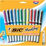 BIC GPMUP12  Marking Permanent Marker Fashion Colors, Ultra Fine Point, Assorted Colors, 12-Count
