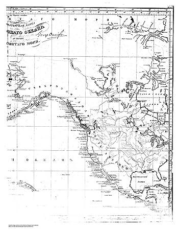 18 X 24 Canvas 1826 US Old Nautical Map Drawing Chart Of Sarychev Atlas Sheet