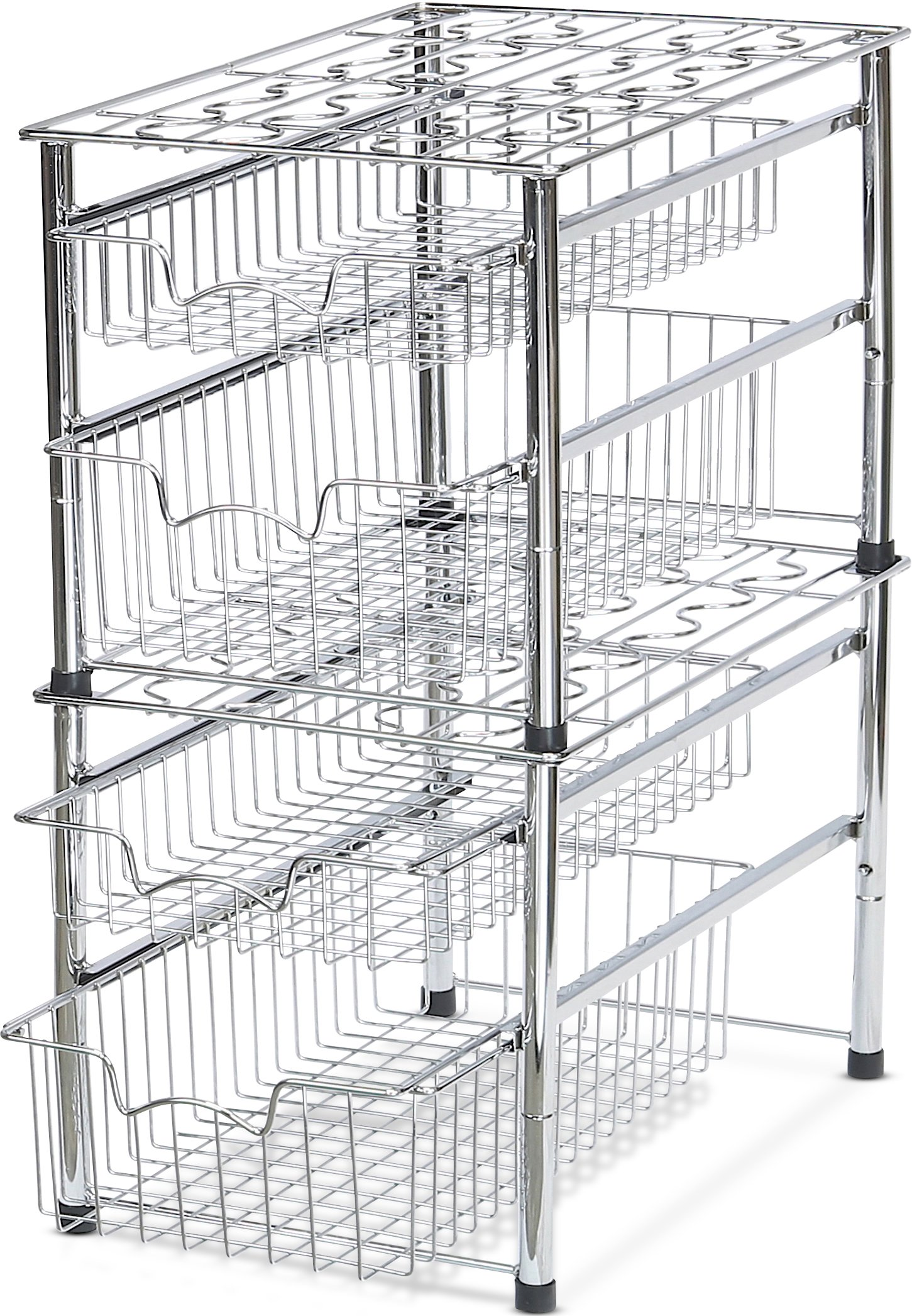 Simple Houseware Stackable 2 Tier Sliding Basket Organizer Drawer, Chrome by Simple Houseware (Image #3)