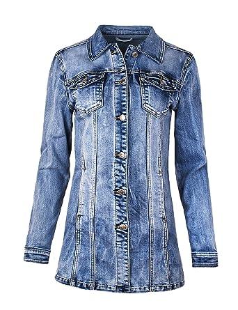 Fraternel Damen Jacke Mantel Lange Jeansjacke talliert Denim Jacket  Amazon. de  Bekleidung 8d78c3308b