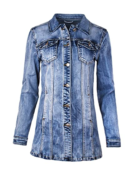 huge selection of cd939 197cf Fraternel Damen Jacke Mantel Lange Jeansjacke talliert Denim Jacket