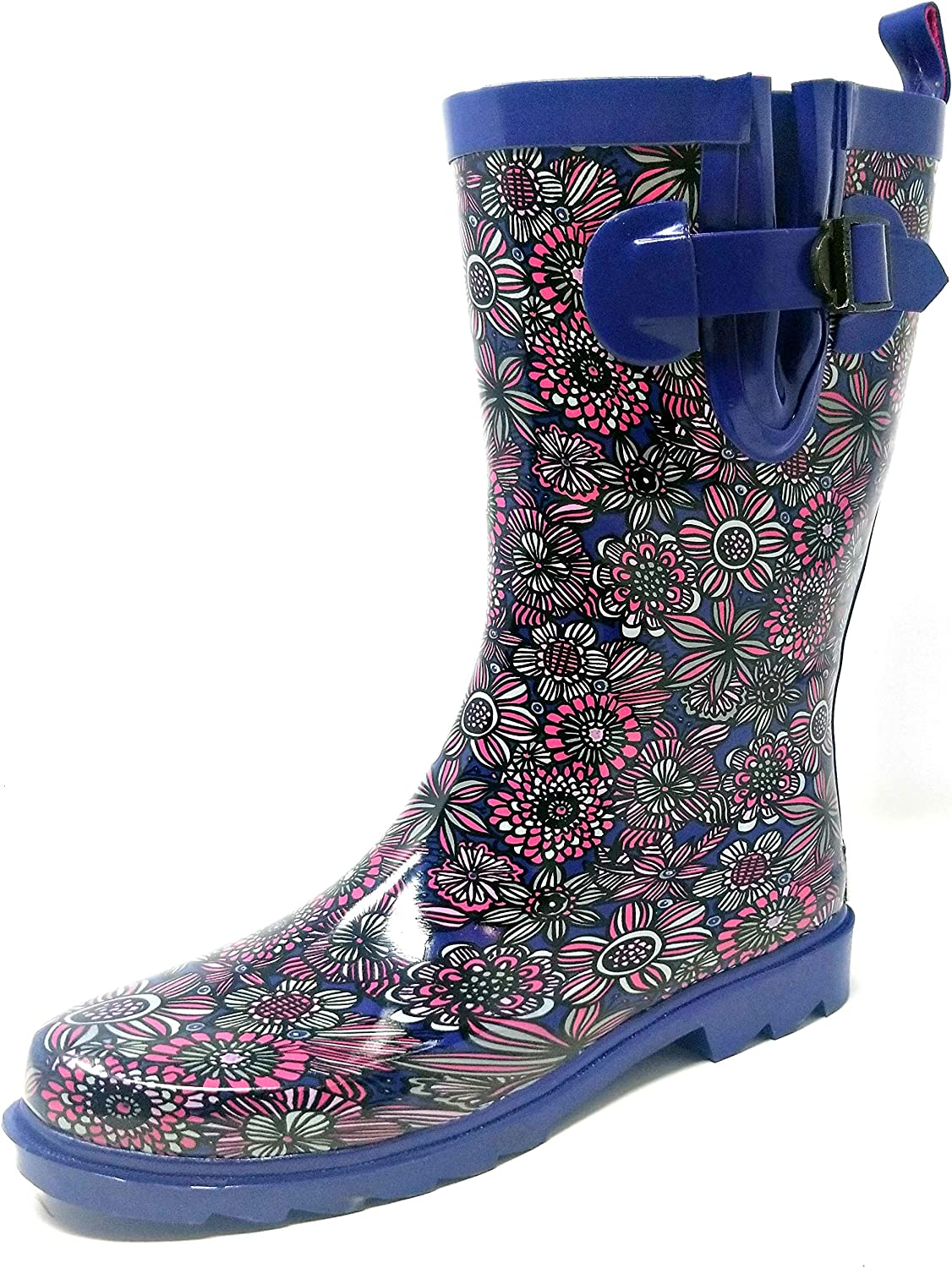 """Forever Young Women's Rubber Rain Boots - 11"""" Mid-Calf Rain Boots for Women, Waterproof Outdoor Garden Boots, Colorful Designs Wellies"""