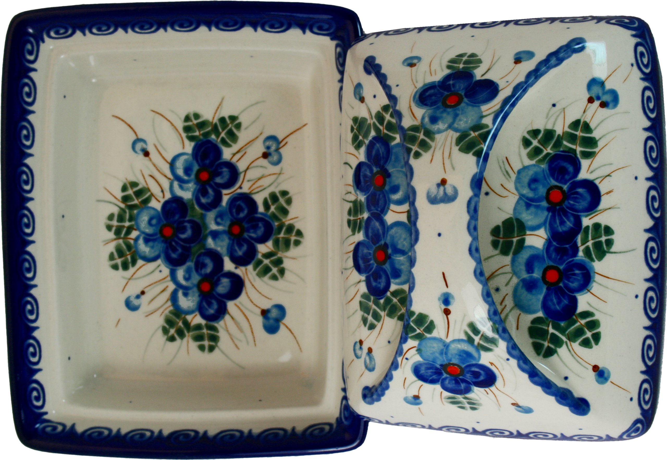Polish Pottery Ceramika Boleslawiec, 0352/162, Butter Dish Deep, 2 Cubes, Royal Blue Patterns with Blue Pansy Flower Motif by Polish Pottery Ceramika Boleslawiec (Image #2)