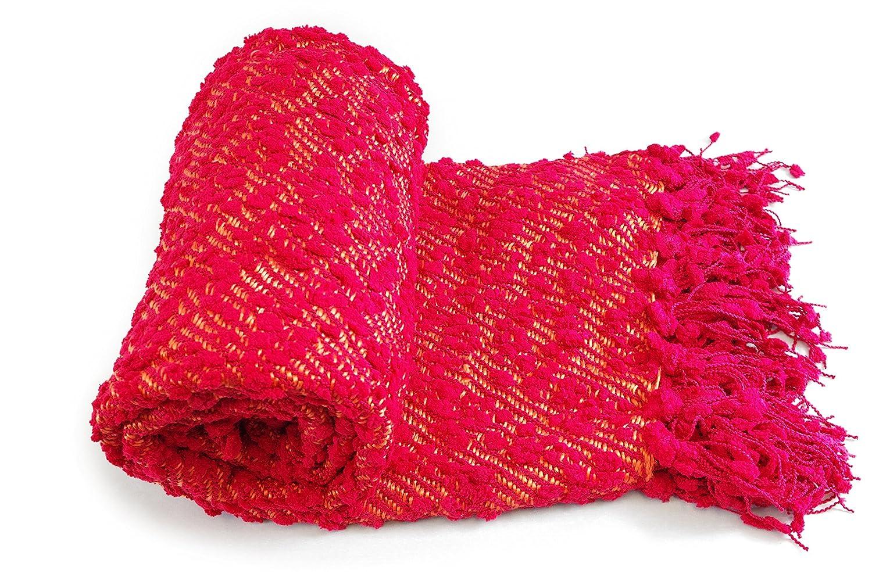 WovenポップコーンテクスチャニットThrow Blanket withボールフリンジ、レッドカラー B01N4CAZLV
