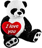 BRUBAKER Peluche gigante Panda Osito 100 cm 'I Love You' corazón de peluche incluido