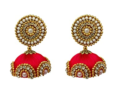 51539b354 Image Unavailable. Image not available for. Colour: Youth Red Grand Silk  Thread Jhumka ...