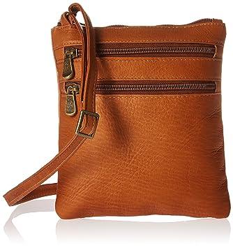 Amazon.com  Royce Leather Colombian Leather Double Zip Crossbody Bag ...