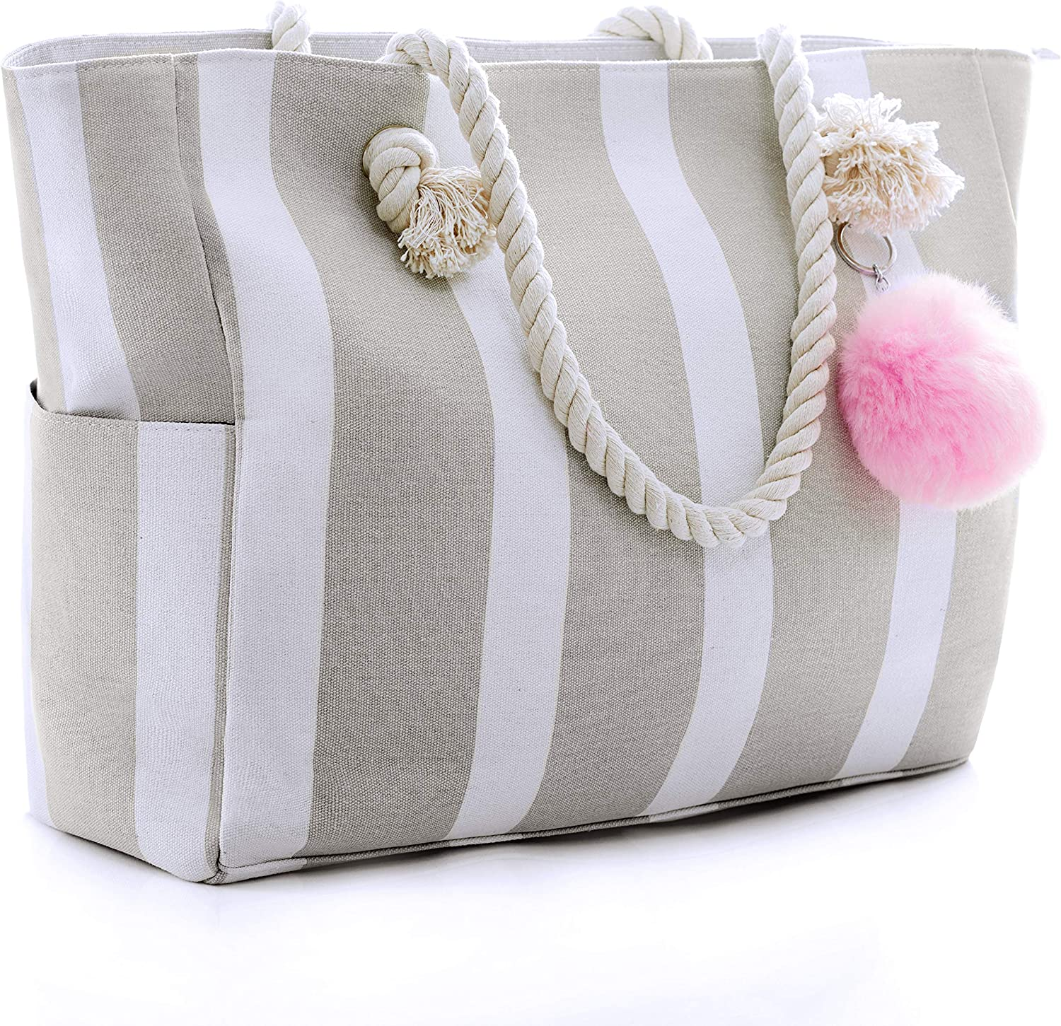 White cotton with birds flowers. Summer bag with rope handles shopping tote beach bag
