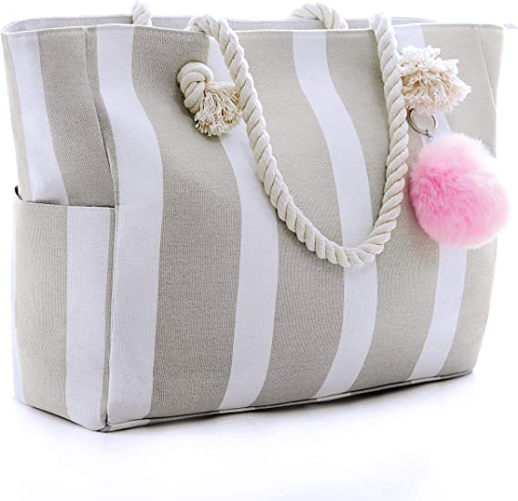 Summer Black Striped Rope Handle Summer Vacation Beach Canvas Large Tote Bag