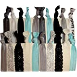 """Hair Ties Ponytail Holders - 20 Pack """"Bridal Lace Silver Glitter"""" No Crease Ouchless Elastic Styling Accessories Pony Tail Elastics Holder Ribbon Bands - By Kenz Laurenz"""