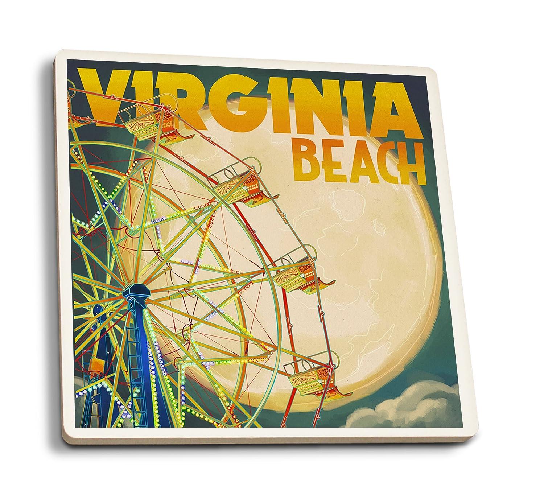最新な バージニアビーチ、バージニア州 – – B01N0782XC Ferris Wheen Set and Full Moon Canvas Tote Bag LANT-43984-TT B01N0782XC 4 Coaster Set 4 Coaster Set, 東広島市:3839cd77 --- arianechie.dominiotemporario.com