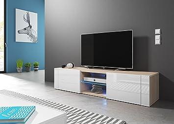 check out 0ca84 f6b55 Modern TV Unit Hit 140 cm Oak Sonoma/White Gloss, LED ...