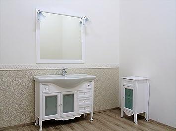 Badmöbel 105 Weiß Matt Landhausstil Shabby Chic + ...