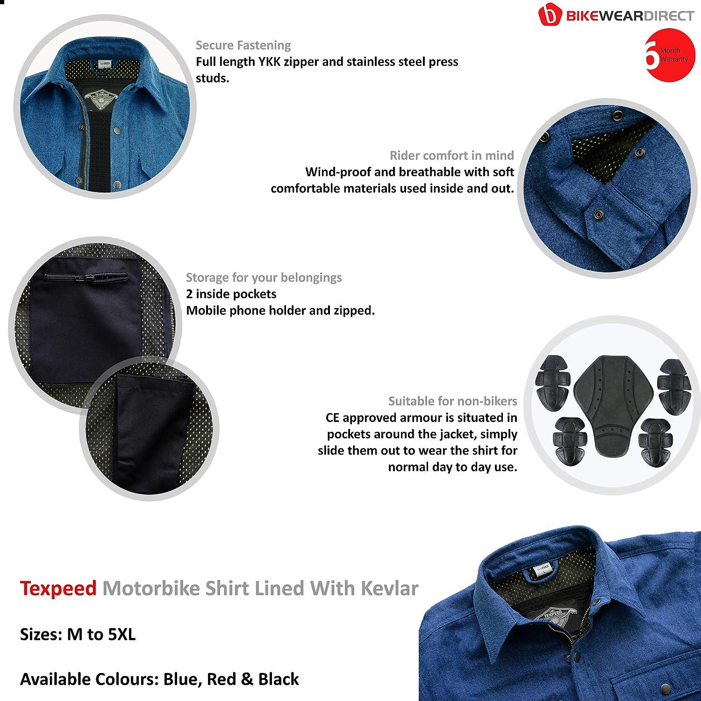 Renforc/ée//Doublure en Kevlar Chemise de Moto pour Homme 3 Coloris Texpeed