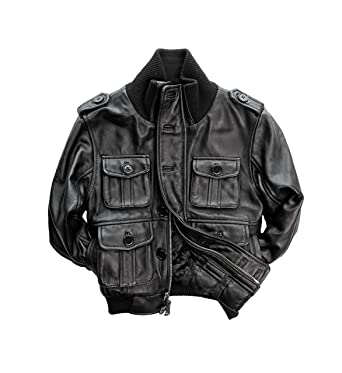 Amazon.com: Childrens Genuine Lambskin Leather Bomber Jacket ...