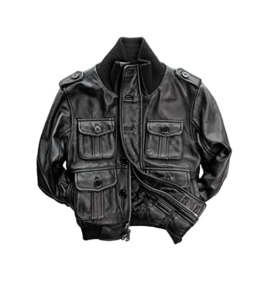 Amazon.com: Children's Genuine Lambskin Leather Bomber Jacket ...
