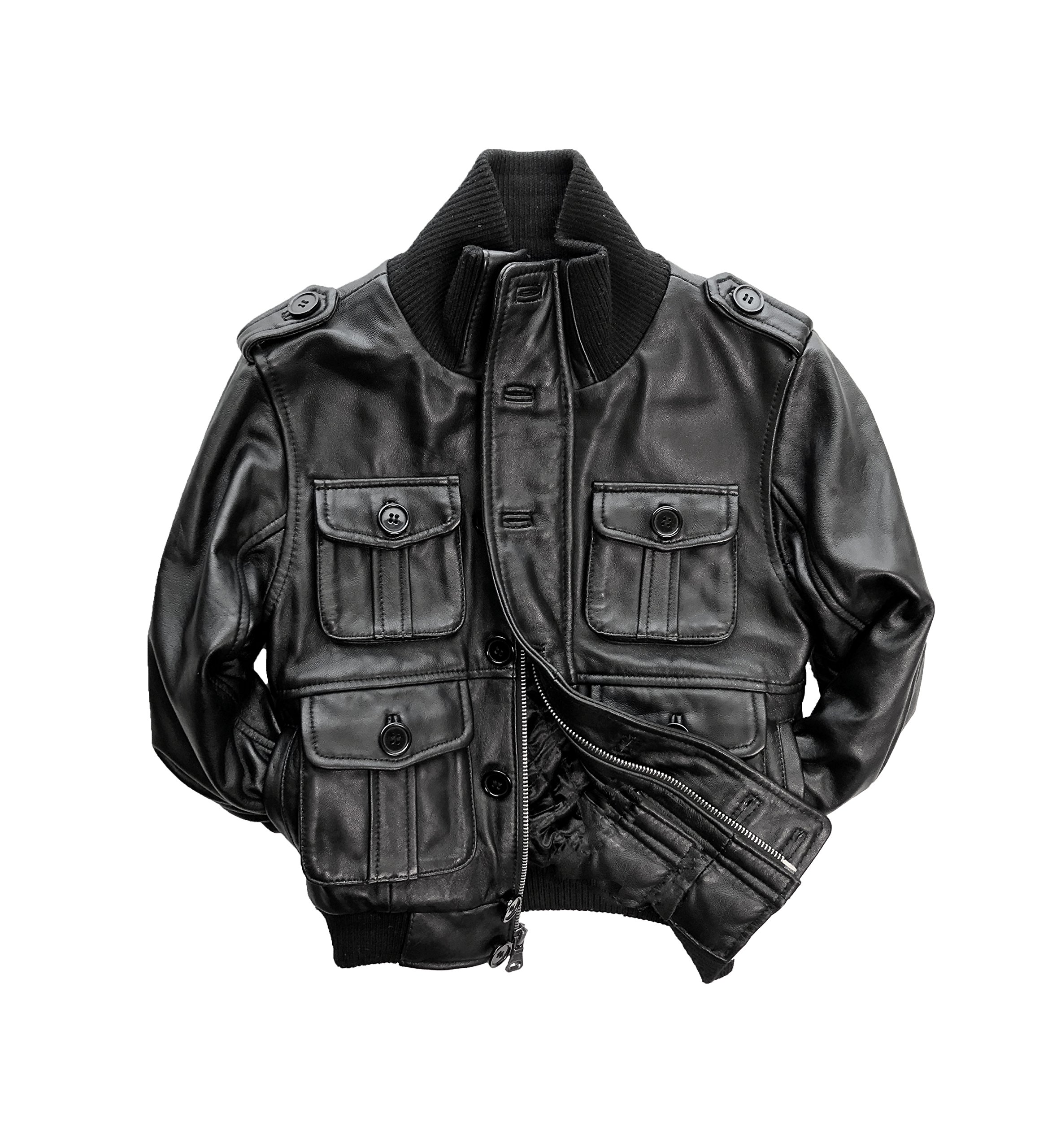 Big Kids Genuine Lambskin Leather Bomber Jacket - Boys