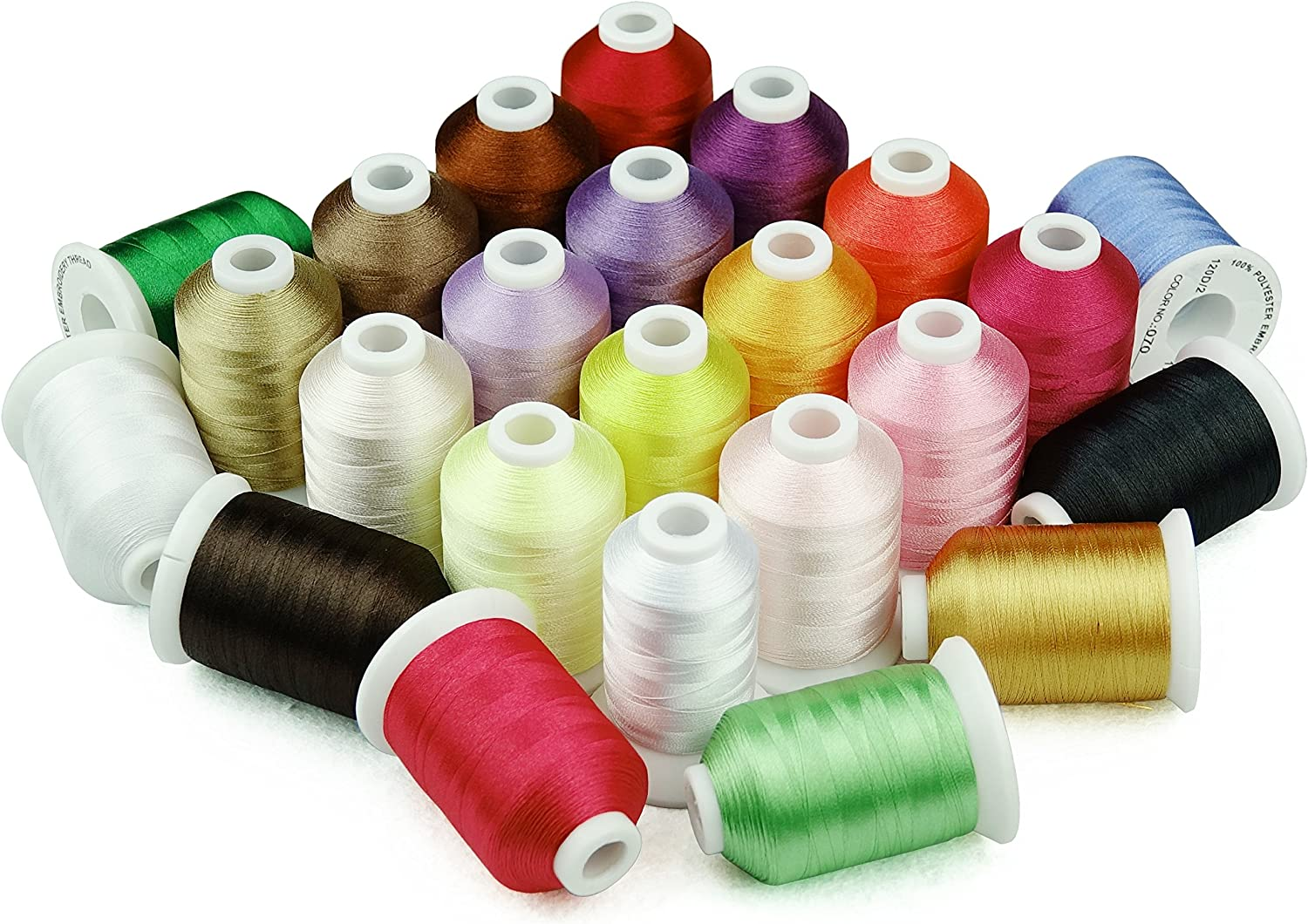 Simthread 63 Couleurs Polyester Broder pour Brother Machine 1000 m/ètres//Bobine