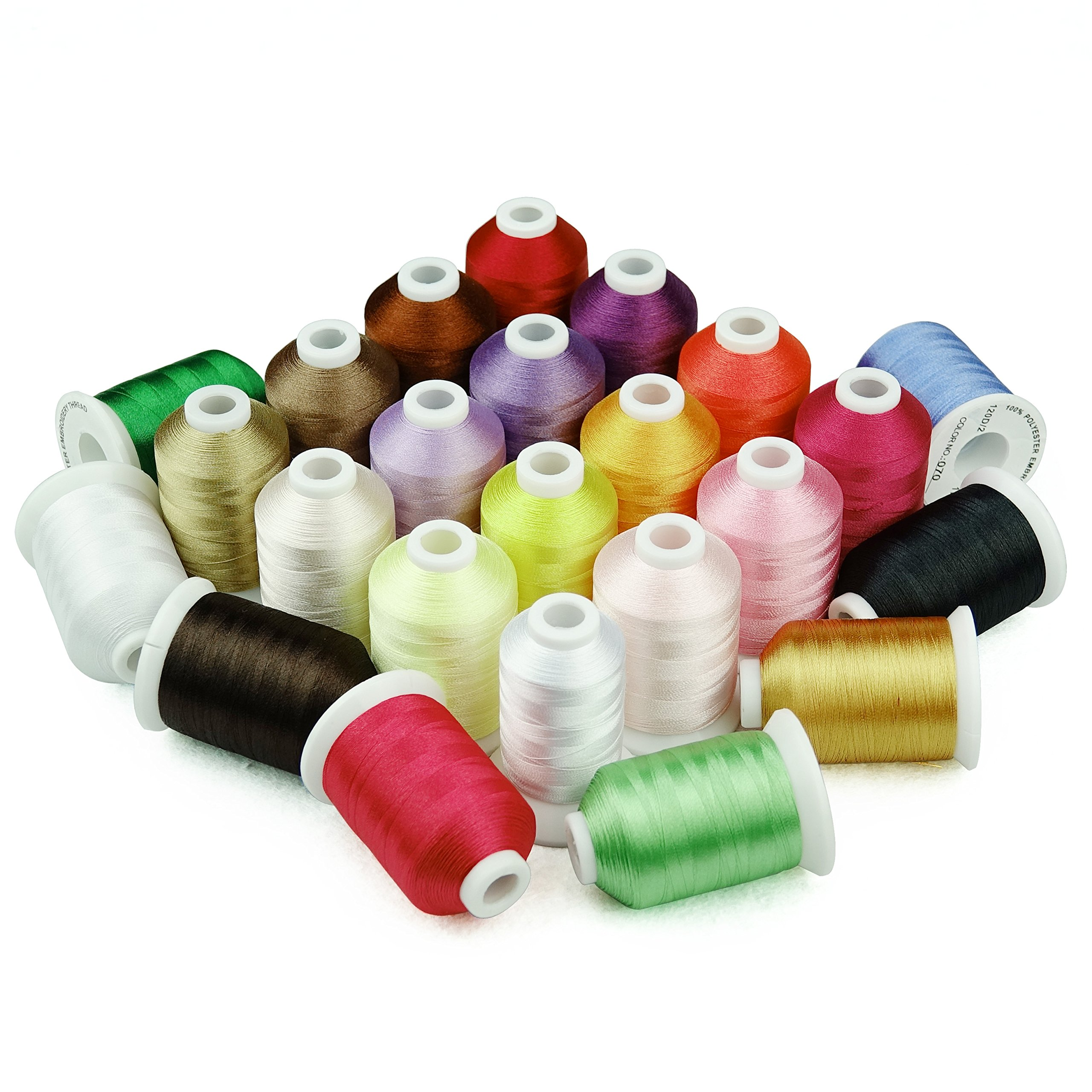 1000 Meters Huge Spool Polyester Embroidery Machine Thread Different Colors Set for Janome Brother Pfaff Babylock Singer Bernina Husqvaran Kenmore Machines (23 Colors) by Simthread