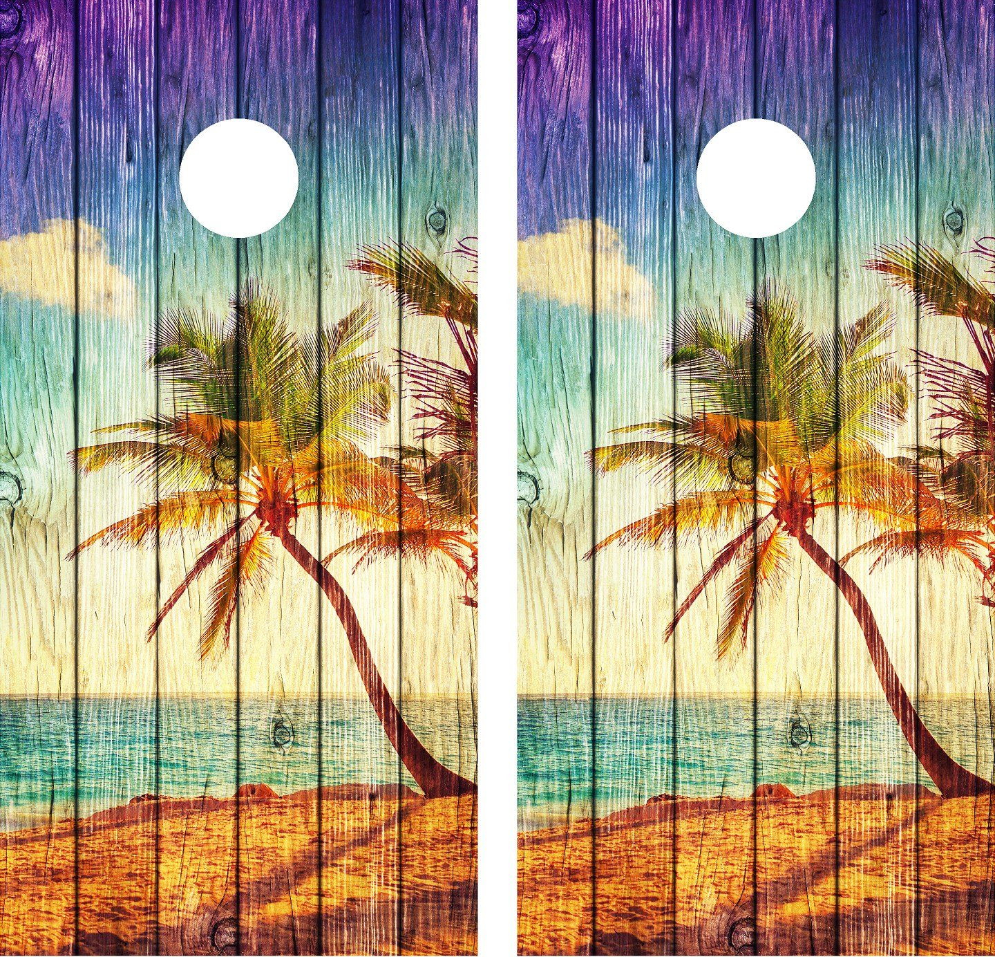 Cornhole Wrap Decal Beach Palm Tree Weathered Wood Laminated Includes 2 Decals by avgrafx
