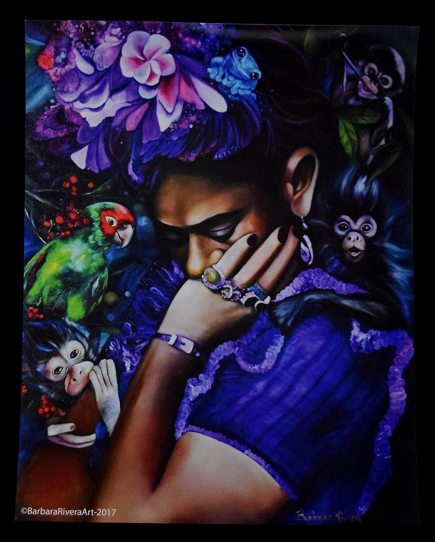 """Purple Frida"" 11W x 14L Inch Original Barbara Rivera Artwork Print"