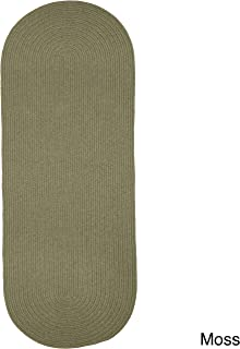 product image for Rhody Rug Woolux Wool Runner Braided Rug (2' x 8') - 2' x 8' Runner Moss Green
