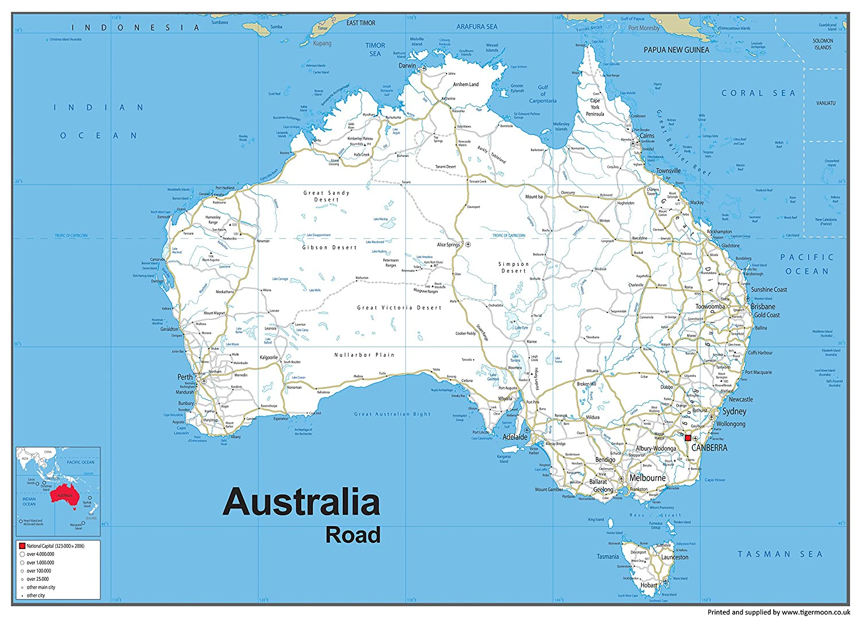 Map Of Australia Roads.Australia Road Map Vinyl 130 X 180 Cm Amazon Co Uk Office Products
