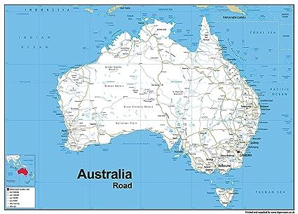 Map Of Australia Roads.Australia Road Map Vinyl 130 X 180 Cm Amazon Co Uk