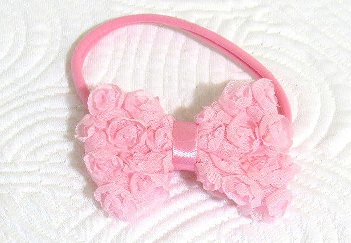 Amazon Com Newborn Baby Head Wrap Pink Rosette Bow Tie Handmade