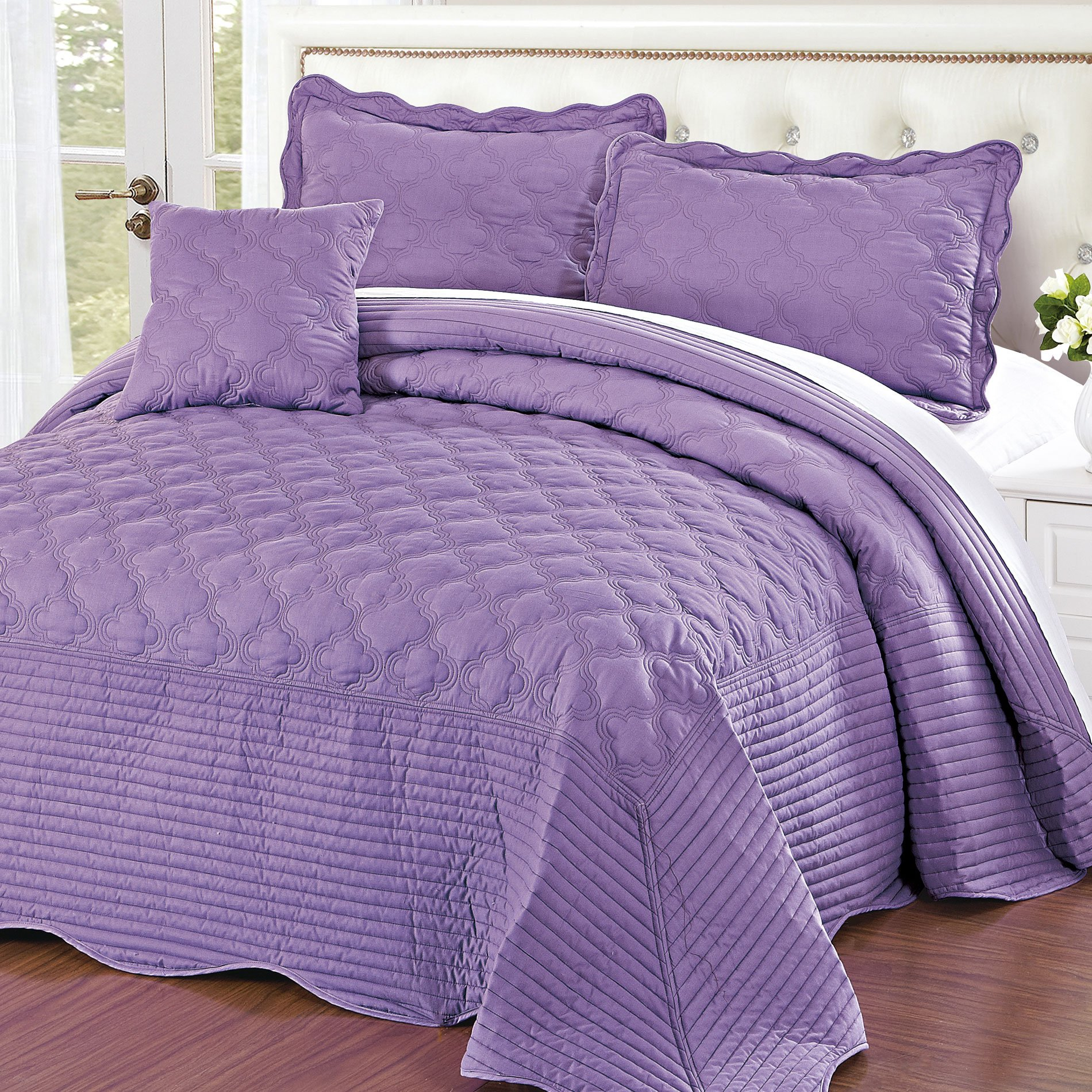 Home Soft Things Serenta Quilted Cotton 4 Pieces Bedspread Set, Queen, Sea Fog