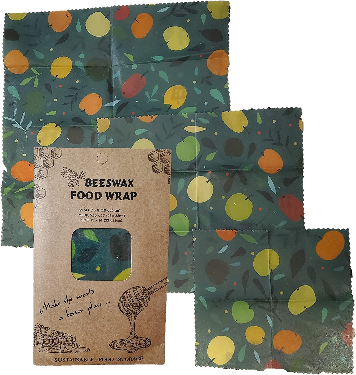 Organic Reusable Beeswax Food Wrap Variety Pack Food Storage, Compostable and Eco-Friendly Plastic Wrap Alternative, Sustainable Beeswrap with Organic Cotton and Jojoba Oil, (Green)