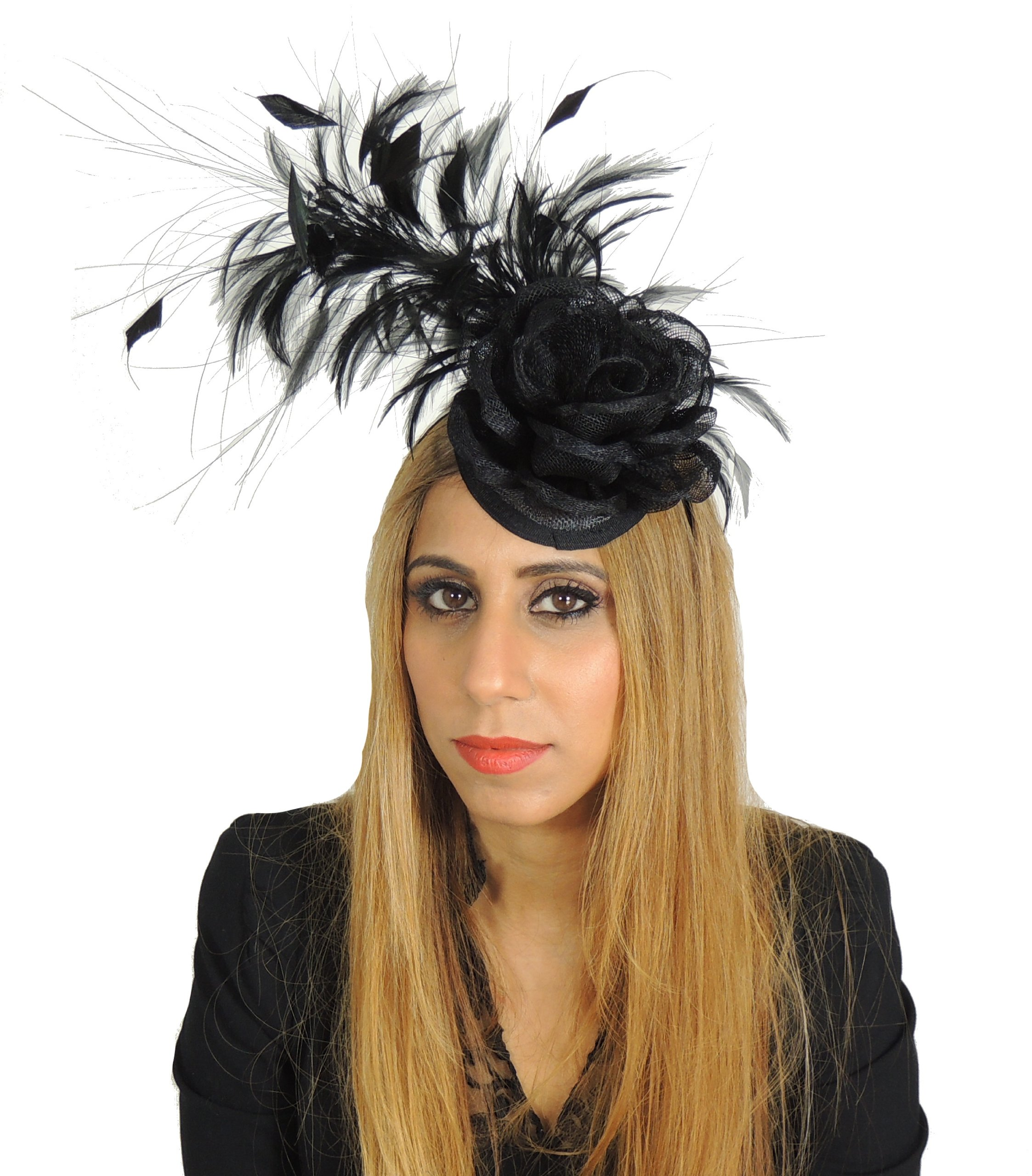 Hats By Cressida Ladies Wedding Races Ascot Derby Fascinator Headband Black by Hats By Cressida