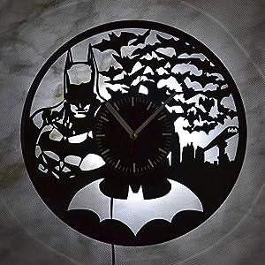 DC Comics Batman Dark Kight Wall LED Light Wall Clock Art Decor Wedding Gift for Him or Her Comics Dark Knight Justice League Home Decor Vinyl Record Art Birthday Christmas Anniversary