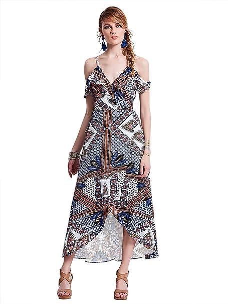 Bohoartist Mujer Vestido Verano Casual Moda Atractivas fiesta coctel playa Sin Tirantes Cintura Alta Volantes Vestidos