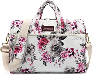 Canvaslove Chrysanthemum Pattern Waterproof Laptop Shoulder Messenger Bag Laptop Computer Briefcases With Rebound Bubble Protection for 13 inch and 13.3 inch laptop