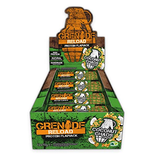 Grenade Reload Protein Flapjacks, 12 x 70 g Bars - Coconut Chaos