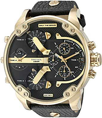 e2227d203838 Amazon.com  Diesel Mr. Daddy Analog Quartz 2.0 Two Hand Leather ...