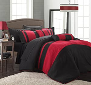 Chic Home Fiesta 10-Piece Bed in A Bag Comforter Set, King, Red
