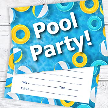 olivia samuel swimming pool birthday party invitations kids pool