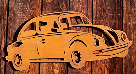 Edelrost Wandbild VW-Käfer Gartendekoration Auto Fahrzeuge 60 cm