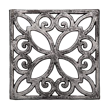 Decorative Cast Iron Trivet For Kitchen Or Dining Table | Square with Vintage Pattern - 6.5 x 6.5  | With Rubber Pegs/Feet - Recycled Metal | Vintage, Rustic Design | by Comfify