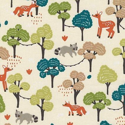 Textiles Français Tessuto Stampato Animali Della Foresta Tessuto