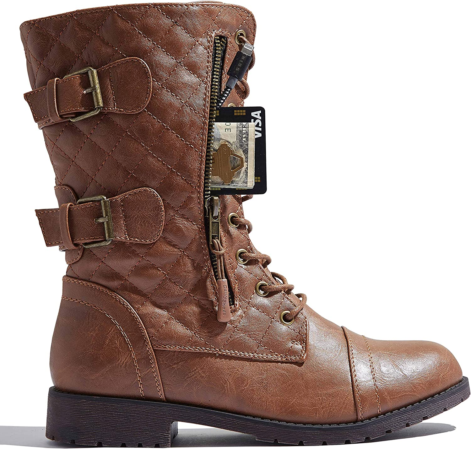 US M 7 B Quilted Tan Pu DailyShoes Womens Military Lace Up Buckle Combat Boots Mid Knee High Exclusive Quilted Credit Card Pocket