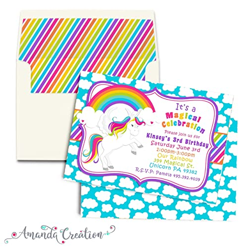 Image Unavailable Not Available For Color Rainbow Unicorn Birthday Party Invitation