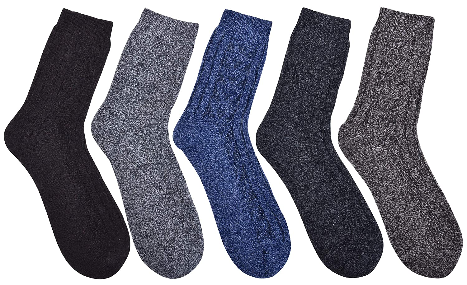 Mens Wool Socks Heavy Thick Knit Socks Fuzzy Warm Comfort Crew Winter Socks For Cold Weather 5 Pack