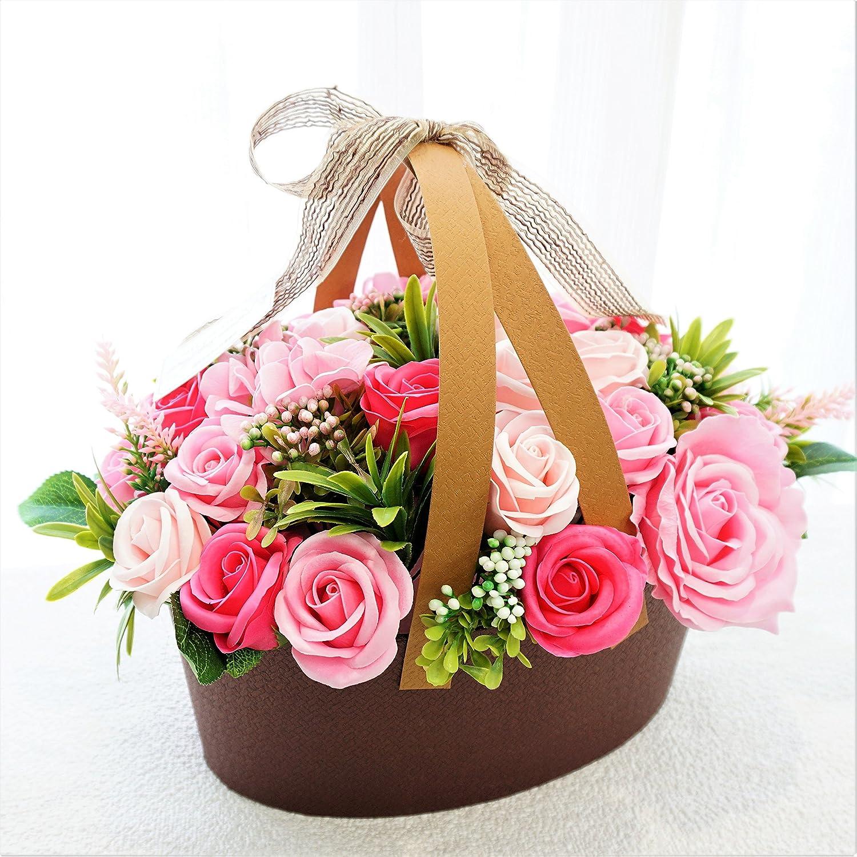 BIO ローズバスケット フレグランスソープフラワー 人気の定番商品 ボリュームバスケット お祝い 記念日 お見舞い バレンタインデー ホワイトデー 母の日 (ピンク) B0791BB6HP ピンク