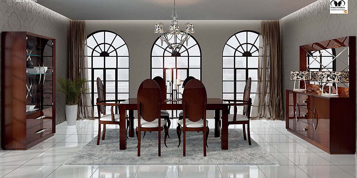 Amazon.com: Modern Contemporary 7pc Dining Room Set Carmen By Franco  Furniture. Made In Spain.: Kitchen U0026 Dining