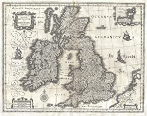History Prints England, Scotland, Ireland, British Isles - Antique Map by Blaeu, 1631-24 x 36 inches